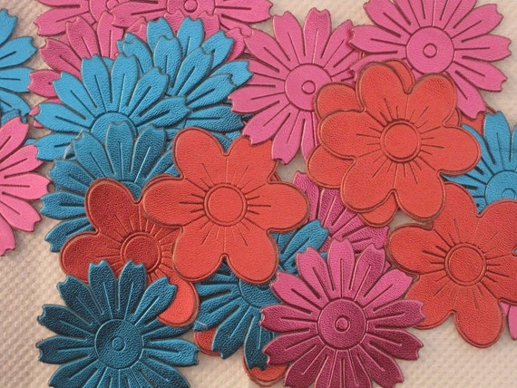 Set of 30 Leather Look Multi Colored Floral Applique - SALE-