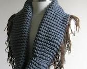 Cowl Neckwarmer Gray Grey Brown Scarf Elegant Chic Fall Autumn Winter Women Fashion