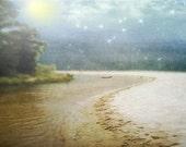 Sometimes I Wonder - Landscape photography, art print 8x10. Lake michigan, beach photography, blue skies, twinkle stars and moon.