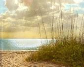 Beach Dreams III - Art Print. Beach photography, landscape photography, sand grass, sunset, blue ocean, florida.