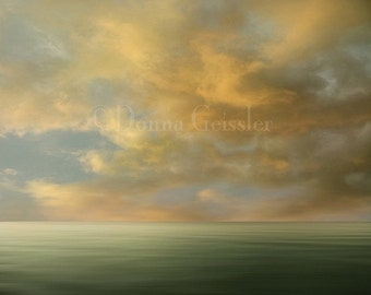My Earth no. 6 - Art Print 8x10.  Cloud photography, glowing sunset, orange clouds, tangerine, landscape photography.