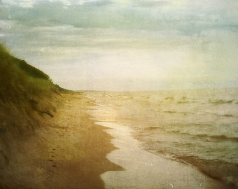 Until Next Summer - Art Print 8x10.  Beach photography, landscape photography. Overcast day on Lake Michigan.
