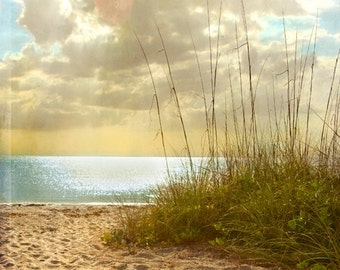 Beach Dreams III - Art Print. Beach photography, landscape photography, sand grass, sunset, blue ocean, florida.