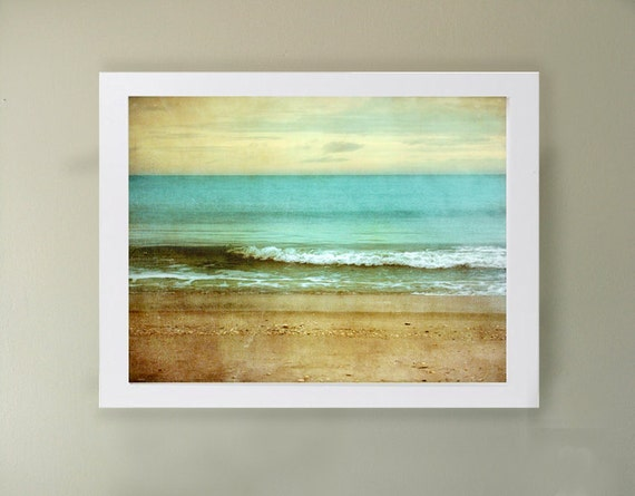 Beach I Art Print. Beach photography. Turquoise blue water, serene skies and sandy beaches. Large print.  Landscape photography.