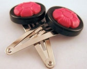 Button Hair Clips - Black and Pink.