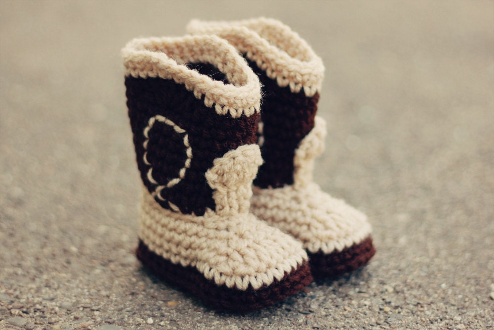PDF CROCHET PATTERN The Western Cowboy Baby Booties Baby