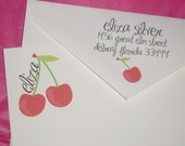 Red Cherries personalized stationery cards and envelopes