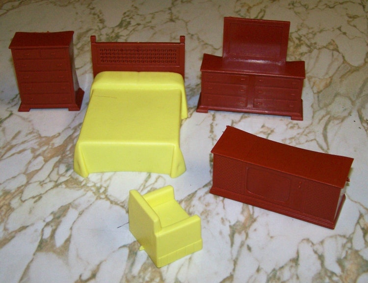 Vintage Plastic Dollhouse Furniture Yellow And By Waterspritesong