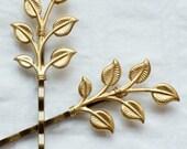 leafy - golden leaf hair pin SET