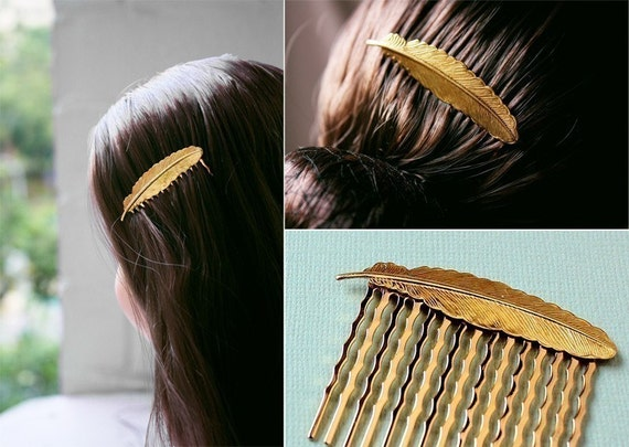 phoenix feather. a whimsical golden hair comb