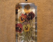 """Pansy Botanical Print Slim Rectangle Glass Pendant with 24"""" Ball Chain Necklace Floral Jewelry"""
