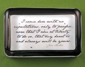 "Jane Austen ""Sense and Sensibility"" Edward Ferrars Quotation Literary Rectangle Glass Paperweight - No Expectations"