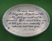 "Jane Austen Regency ""Pride and Prejudice"" Mr. Darcy Quotation Oval Glass Paperweight - In Vain Have I Struggled"