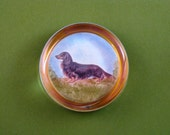 Miniature Long-Haired Dachshund Dog Portrait Round Crystal Paperweight