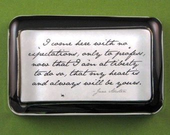 """Love Quote Jane Austen """"Sense and Sensibility"""" Edward Ferrars Quotation Literary Rectangle Glass Paperweight - No Expectations"""