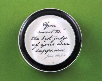 "Jane Austen Regency ""Emma"" Quotation Round Glass Paperweight - Best Judge Home Decor"