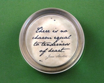 Jane Austen Quotation Round Glass Paperweight - Tenderness of Heart