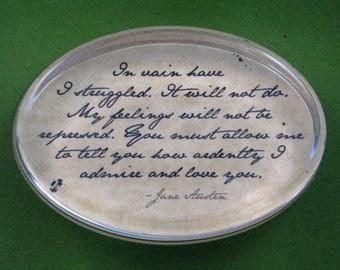 "Jane Austen Regency ""Pride and Prejudice"" Mr. Darcy Quotation Oval Glass Paperweight - In Vain Have I Struggled"