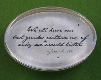 "Jane Austen Regency ""Mansfield Park"" Quotation Oval Glass Paperweight - Best Guides"