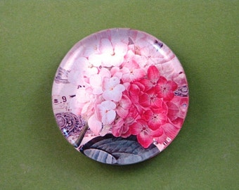 Pink Hydrangea Floral Mini Round Glass Paperweight