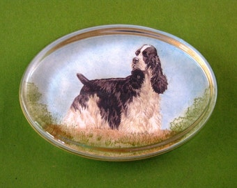 Black and White Cocker Spaniel Dog Lover Oval Glass Paperweight Dog Portrait