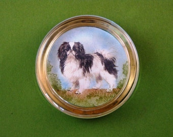 Japanese Spaniel Dog Portrait Round Crystal Paperweight Home Decor Dog Lover
