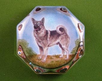Norwegian Elkhound Dog Portrait Octagonal Glass Paperweight Home Decor Dog Lover