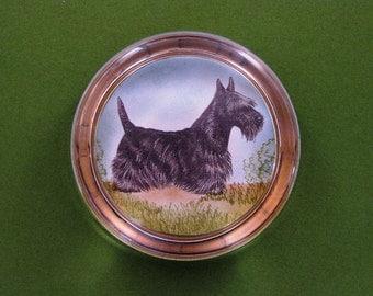 Scottish Terrier Dog Portrait Round Crystal Paperweight Home Decor