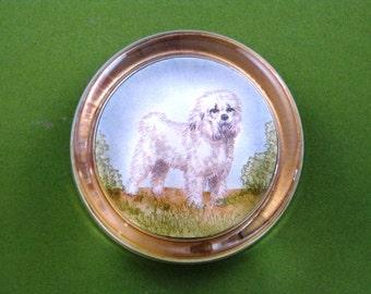 Bichon Frise Dog Portrait Round Crystal Paperweight