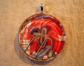 30% OFF Red Spring Tulip Floral Larger Round Glass Pendant