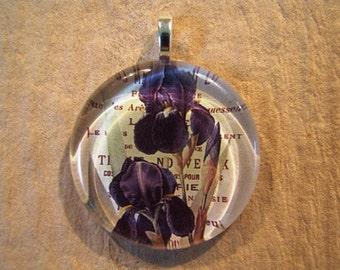 30% OFF Purple Iris Flat Larger Round Glass Pendant