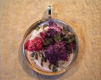 30% OFF Lilac Bouquet Floral Larger Round Glass Pendant Purple Floral