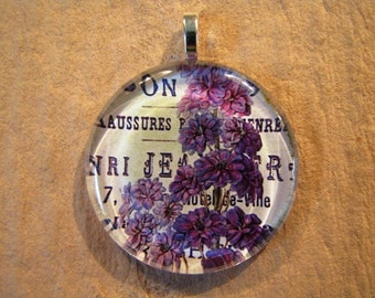 30% OFF Purple Floral Jewelry Larger Round Glass Pendant