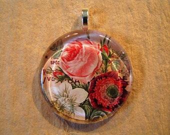 30% OFF Rose Variety Flower Flat Larger Round Glass Pendant June Birthday
