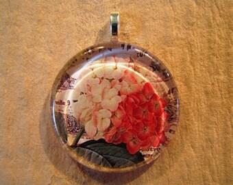 30% OFF Hydrangea Flower Flat Larger Round Glass Pendant