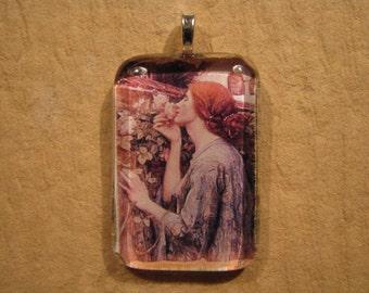 30% OFF The Soul of the Rose John William Waterhouse Painting Medium Rectangle Glass Pendant