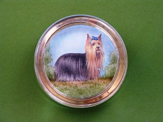 Yorkshire Terrier Dog Lover Round Crystal Paperweight Home Decor Dog Portrait