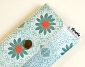 Vinyl Womens Wallet - Blue Flowers with Copper