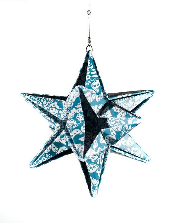 Teal Origami Star Ornament