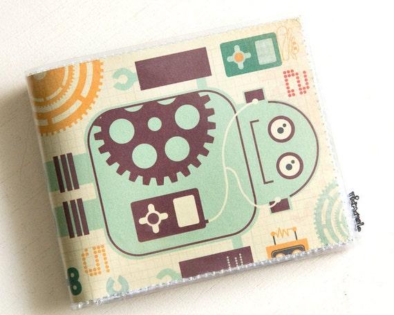 Mens Vinyl Wallet - Vintage Robots Billfold