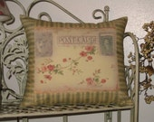 Floral Postcard Pillow Vintage Inspired Throw Decorative Pillow
