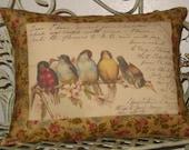 Rainbow of French Birds Postcard Bird Pillow