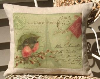 decorative pillow french carte postale bird pillow. Black Bedroom Furniture Sets. Home Design Ideas