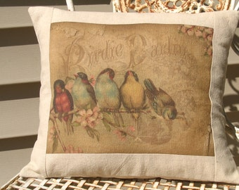 French Cottage Rainbow of French Birds Postcard Pillow Cushion, Cottage Style Bird Throw Pillow and Insert