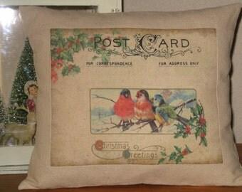 Christmas Pillow - Vintage Christmas Birds Postcard Pillow