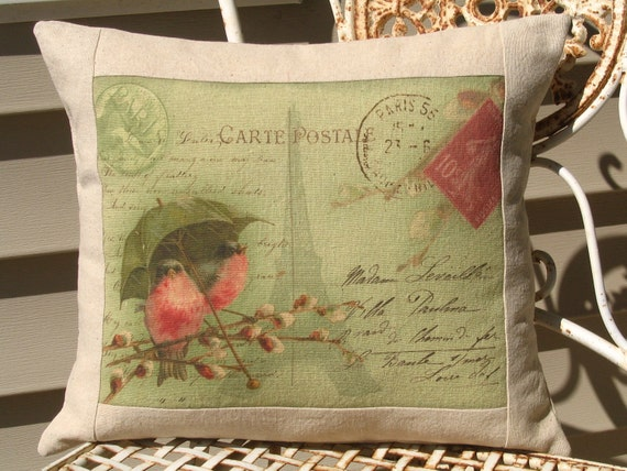 French Carte Postale Bird Pillow Decorative Throw Pillow Cover, Shabby Chic