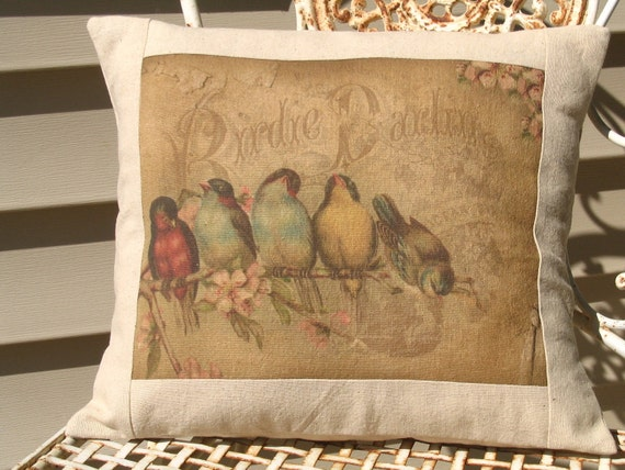 Rainbow of French Birds Postcard Bird  Throw Pillow