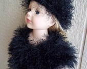 "Black fun fur capelet, hat & boots for 18"" dolls"