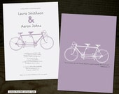 Bicycle Built for Two - wedding invitation, rsvp AND bonus thank you cards - 50 count