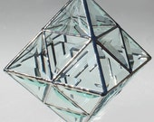 3D Contemporary Beveled Stained Glass Sculpture - Octahedron - Large Hanging Sun Catcher